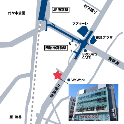 JR原宿駅、東京メトロ明治神宮前駅からプロの転職までの地図画像