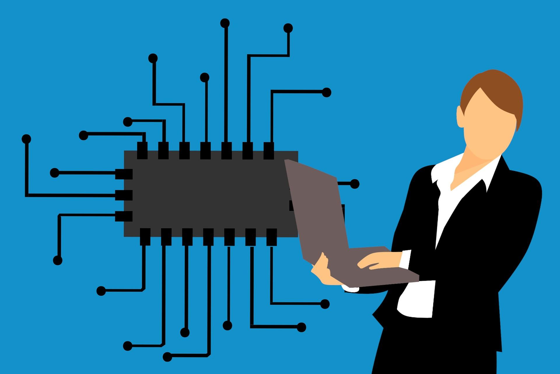 マイクロチップと女性の画像
